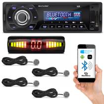 Kit MP3 Player Automotivo Multilaser Talk P3214 Bluetooth USB SD + Sensor de Estacionamento Prata - Prime