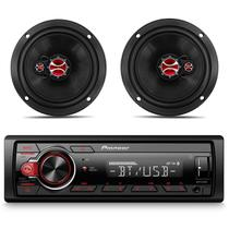 "Kit MP3 Player Pioneer MVH-S218BT Receiver Bluetooth USB + Alto Falante Foxer 6"" 100W RMS 4 Ohms Par -"