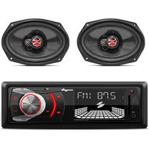 Kit MP3 Player Quatro Rodas MTC6608 + Alto Falantes Foxer 6x9 Polegadas Triaxial 100W RMS 4 Ohms - Prime