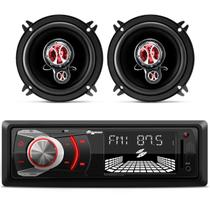 Kit MP3 Player Quatro Rodas MTC6608 + Alto Falantes Foxer Triaxial 5 Polegadas 100W RMS 4 Ohms - Prime