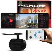 Kit MP5 Player Shutt Los Angeles 1 Din 4 Pol Bluetooth USB MP3 MP4 + Câmera Ré Colorida 2 em 1 Preta -