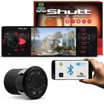 Kit MP5 Player Shutt Los Angeles 1 Din 4 Pol Bluetooth USB MP3 MP4 FM + Câmera de Ré Preto 8 Leds