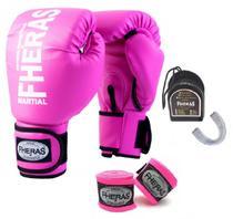Kit Muay Thai Fheras Luva Bandagem Bucal 10oz Rosa -