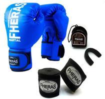 Kit Muay Thai Fheras Luva Bandagem Bucal 14oz Azul -