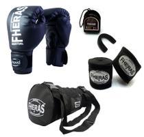 Kit Muay Thai Fheras Luva Bolsa Bandagem Bucal 12oz Preta -