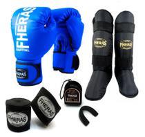 Kit Muay Thai Fheras Luva Caneleira Bandagem Bucal 10oz Azul -