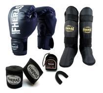 Kit Muay Thai Fheras Luva Caneleira Bandagem Bucal 14oz Preta -