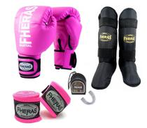 Kit Muay Thai Fheras Luva Caneleira Bandagem Bucal 8oz Rosa -