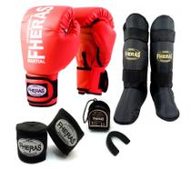 Kit Muay Thai Fheras Luva New + Caneleira + Bandagem + Bucal Vermelha -
