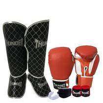 58beebdef Kit Muay Thai Kickboxing - Luva 16 oz vermelha clássica + caneleira 20mm +  bandagem 3 metros + protetor bucal - Thunder Fight - ref 07