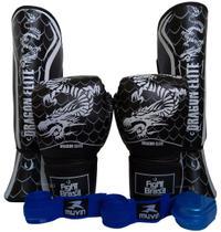 Kit Muay Thai Luva 16 Oz Caneleira G Bandagens 5 Metros + Bucal Fight Brasil Dragão -