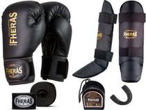 Kit Muay Thai Luva Bandagem Caneleira Bucal Pro Gold 10oz - Fheras