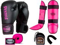 Kit Muay Thai Luva Bandagem Caneleira Bucal Pro Pink 08oz - Fheras