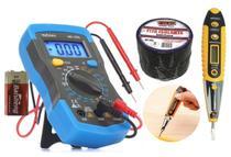 Kit Multímetro Digital  com Caneta detectora de Voltagem e Fita isolante - Exbom