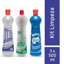Kit multiuso, limpa-vidros e tira-limo - worker - 500 ml -