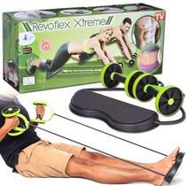 Kit musculação fitness completo revoflex elastico roda abdom -