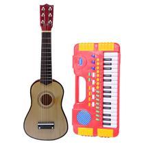 Kit Musical Infantil Mini Teclado + Mini Violão Madeira - String Guitar