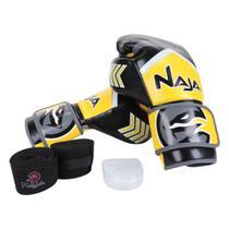 Kit Naja Luva de Boxe / Muay Thai Naja New Extreme 12 Oz + Bandagem + Protetor Bucal -