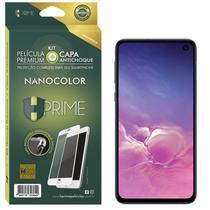 """Kit Nanocolor HPrime Película Nanoshield Preto + Capa para Samsung Galaxy S10e 5.8"""" -"""