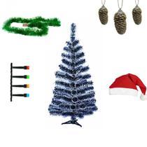 Kit Natal Árvore 90cm + Pisca Colorido + Gorro e Enfeites - Alphacomprass