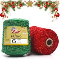 Kit Natal Barbante Fial Colorido com Brilho nº 6 - 614 Metros - 2 Cores -
