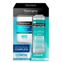 Kit Neutrogena Sun Fresh Facial FPS 60 + Água Micelar Purified Skin (2 Produtos) -