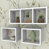 Kit Nichos Decorativos MDF Brancos Ambientes 11 - Mobes - Mobes Design