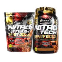 Kit Nitro Tech Whey 999g Chocolate + Pouch 454g Double Choc - Muscletech