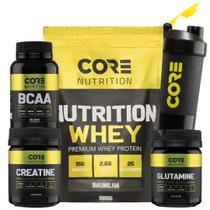 Kit Nutrition Whey + BCAA + Creatina + Glutamina + Shaker - Core Nutrition