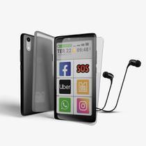 Kit ObaSmart 3 + Capinha + Pelicula + Fone - Smartphone para 3ª Idade Original Obabox -
