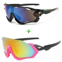 Kit Óculos De Sol Ciclismo Feminino Espelhado Proteção Uv - Esportivo