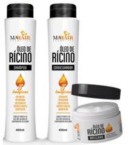 Kit óleo de rícino crescimento completo kit 3 produtos shampoo - condicionador - máscara mahair -