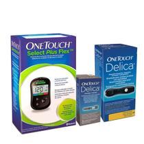 Kit OneTouch: 1 Medidor de Glicemia + Lancetas 25 Unidades + 1 Lancetador (38659+34682+34684) -