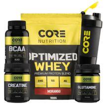 Kit Optimized Whey + BCAA + Creatina + Glutamina + Shaker - Core Nutrition