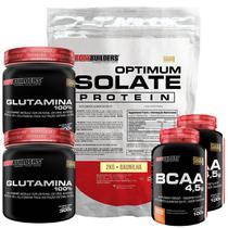 Kit Optimum Isolate Whey Protein 2kg  Baunilha   +  2x Bcaa 100g  +  2x Glutamina 300g  - Bodybuilders -