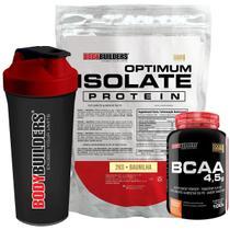 Kit Optimum Isolate Whey Protein 2kg  Baunilha +  Bcaa 100g  + Coqueteleira - Bodybuilders -