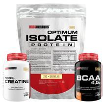Kit Optimum Isolate Whey Protein 2kg   Baunilha  +  Bcaa 100g  +  Creatina 100g - Bodybuilders -