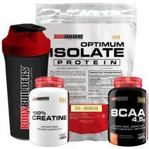 Kit Optimum Isolate Whey Protein 2kg  Baunilha  + Bcaa 100g + Creatina 100g + Coqueteleira -Bodybuilders -