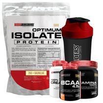 Kit Optimum Isolate Whey Protein 2kg Baunilha +Bcaa 100g + Creatina 100g + Glutamina 300g + Coqueteleira - Bodybuilders -
