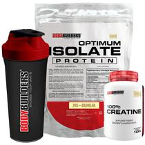 Kit Optimum Isolate Whey Protein 2kg  Baunilha +  Creatina 100g  + Coqueteleira - Bodybuilders -