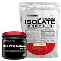 Kit Optimum Isolate Whey Protein 2kg  Baunilha  +  Glutamina  500g - Bodybuilders -