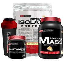 Kit Optimum Isolate Whey Protein 2kg  Baunilha  +  Hiper amazing 1,5kg + Glutamina 300g  + Coqueteleira + Bodybuilders -