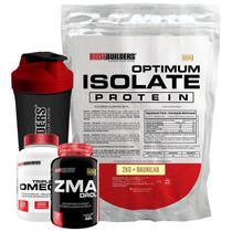 Kit Optimum Isolate Whey Protein 2kg  Baunilha +  Ômega 120 Cáps + Zma 120 Cáps + Coqueteleira + Bodybuilders -