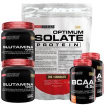 Kit Optimum Isolate Whey Protein 2kg  Chocolate  +  2x Bcaa 100g  +  2x Glutamina 300g  - Bodybuilders -