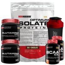 Kit Optimum Isolate Whey Protein 2kg  Chocolate +  2x Bcaa 100g  +  2x Glutamina 300g  +  Coqueteleira - Bodybuilders -