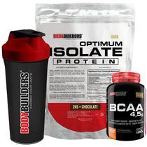 Kit Optimum Isolate Whey Protein 2kg  Chocolate +  Bcaa 100g  + Coqueteleira - Bodybuilders -