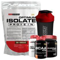 Kit Optimum Isolate Whey Protein 2kg Chocolate +Bcaa 100g + Creatina 100g + Glutamina 300g + Coqueteleira - Bodybuilders -