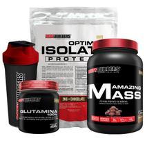Kit Optimum Isolate Whey Protein 2kg  Chocolate +  Hiper amazing 1,5kg + Glutamina 300g  + Coqueteleira + Bodybuilders -
