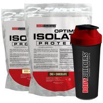 Kit Optimum Isolate Whey Protein 2kg Chocolate +Optimum Isolate Whey Protein-Baunilha 900g  + Coqueteleira -Bodybuilders -