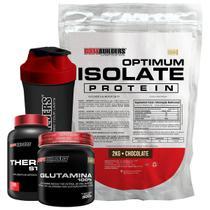 Kit Optimum Isolate Whey Protein 2kg  Chocolate  + Thermo Start 100 Cáps + Glutamina 300g  + Coqueteleira + Bodybuilders -